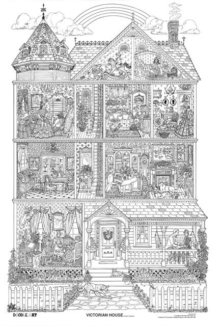 VICTORIAN HOUSE doodle art colouring poster:  This was uploaded by doodleartposters, FREE jpg download @ photobucket.