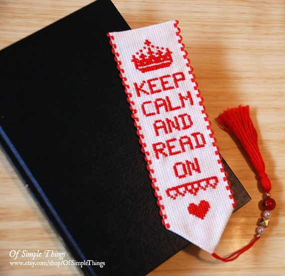Bookmark Keep Calm and Read On Red DMC Cross Stitch