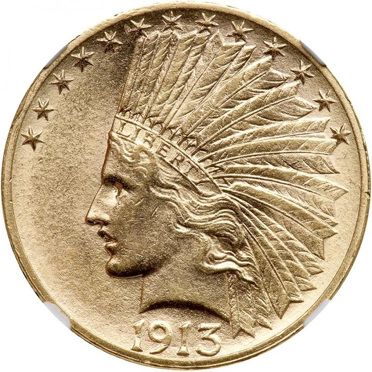 1913-S $10 Indian. NGC MS62 Frosty and untoned. Only 66,000 minted. Pleasingly bright and lustrous, both sides are naturally colored in reddish-gold hues. A weak impression was sometimes left by the rebound of the (possibly dilapidated) dies that struck this year's coinage, but we are delighted to say that this specimen is well struck on all devices, very well indeed. Soft satin luster throughout that is free from marks. Were it not for two minor tics around Liberty's eye, the entire coin…