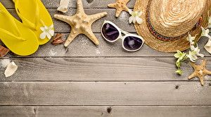 Wallpapers Starfish Summer Glasses Flip-flops Hat Wood planks Template greeting card