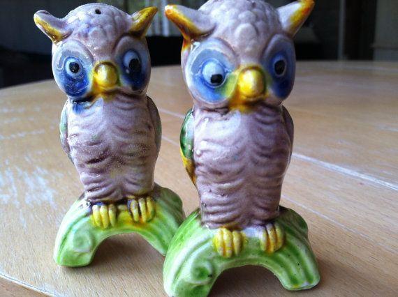 Vintage Retro Alien zoals uilen op takken zout en peper Shakers antieke verzamelobjecten figuurtjes of Cake Toppers