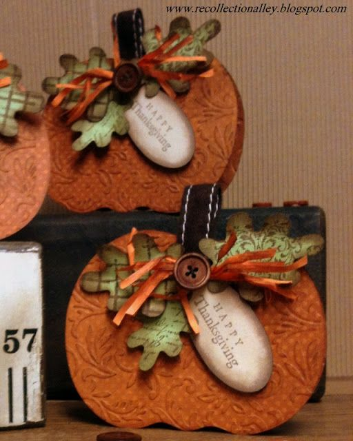 Thanksgiving cards cut on Cricut - pumpkin from Create a Critter.  CS - BoBunny Burnt Orange Double Dot.  Leaves - Bazzill CS in Parakeet then stamped & distressed.