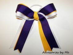 Purple Gold & White Cheer Bow