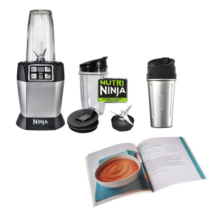 Ninja Auto-iQ Blender (Certified Refurbished) 3 Nutri Cups & Recipe Cook Book