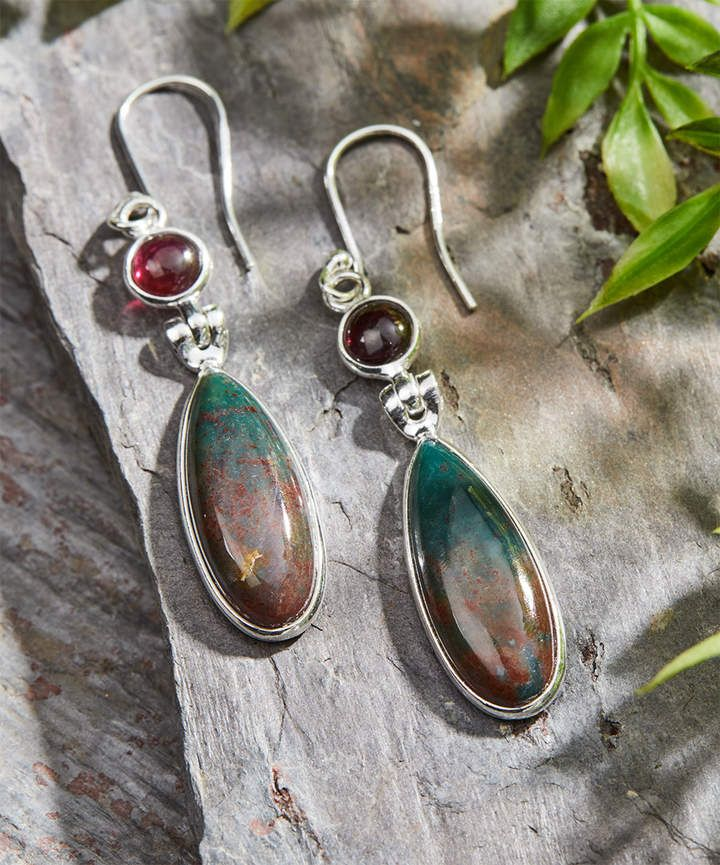 Bloodstone & Garnet Drop Earrings | CURRENT FASHION SALES