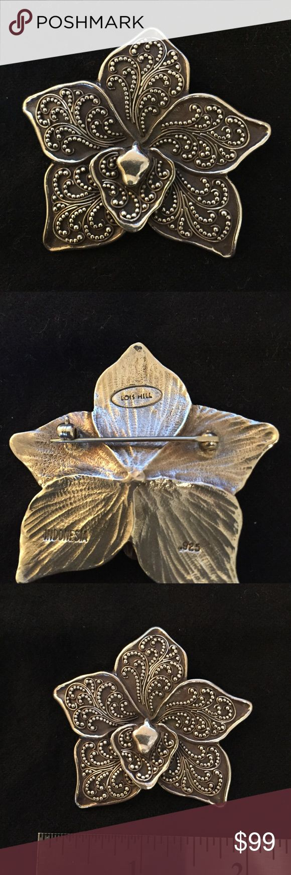 Lois Hill Sterling Silver Orchid Pin This is a beautiful sterling silver pin with an orchid motif. Turn heads when you wear this on a jacket/coat. Lois Hill Jewelry