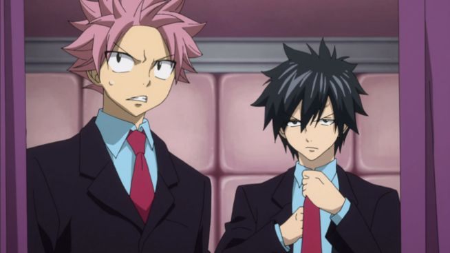 Natsu and Gray wearing in a suit during exchange guild member programs