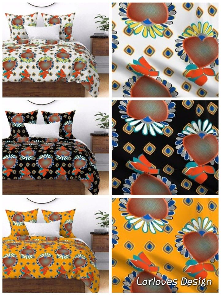 Colorful Fabrics Digitally Printed By Spoonflower Hearts 70s Jewels White Duvet Cover Design Duvet Covers Custom Duvet