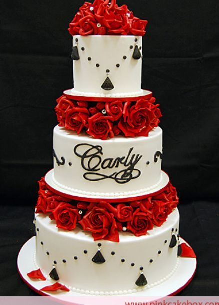 Black Wedding Cake Black And White Wedding Cakes With Red Roses