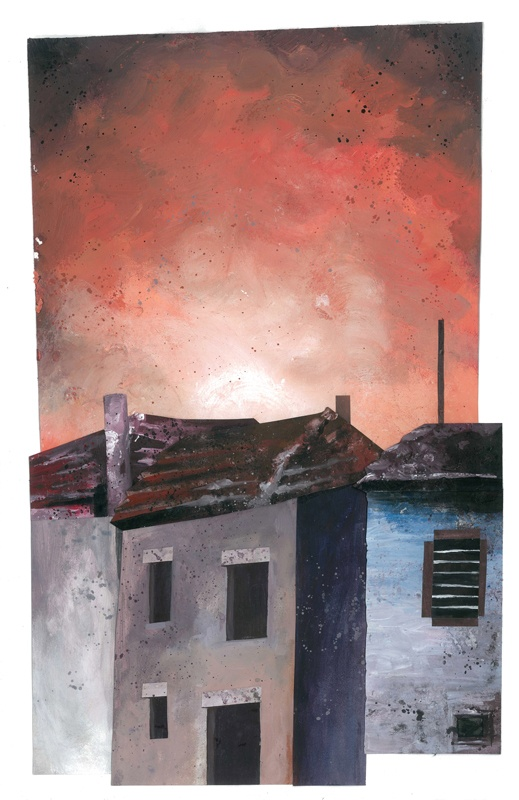 Untitled // illustration // colour // paint // cut and paste // realistic // graphic // city // village // house // houses // burn // burning sky // empty