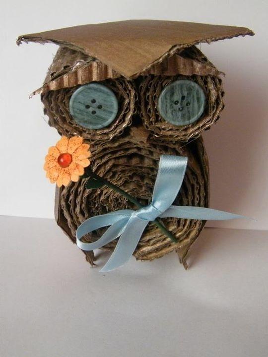 sowa z tektury na dzień nauczyciela owl