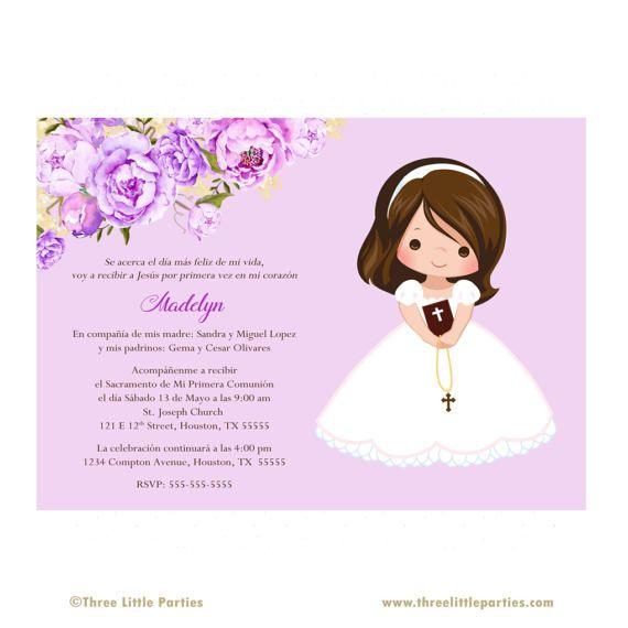 Invitacion Primera Comunión Printable Floral First Communion