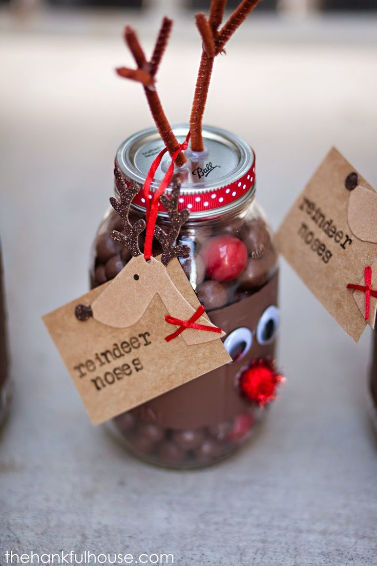 Reindeer Noses Mason Gift Jars - pipe cleaner, mason jars, ribbon, goggly eyes, red bright pom poms (whoppers and red gum balls go inside jar), brown paint, paper for tags, hot glue and letters for the tags.  CUTE!