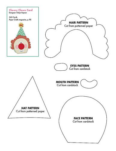 clown hat template - free clown pattern patterns for cards card bases boxes