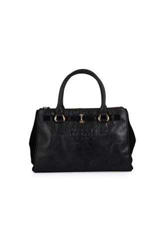 Buy Black Hand Held Bag Online at Best Price in India -  Black Hand Held Bag Rs. 3,999.00  Availability: In stock      100 % Real Leather Graceful and splendid leather bag Crafted in black crocodile print leather with suede sides 2 short handles with golden ring, perfect to be carried on shoulder or to be held in hand 3 main compartments, one with magnetic enclosure and 2 with zip enclosures