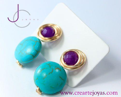Zacillo Envelope Doble Agata, en Alambre HCJ #18 y Piedras Naturales de Agatas Color Morado y Azul T