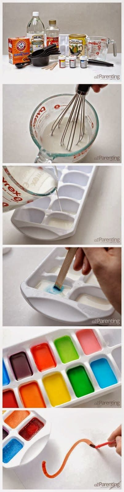 Homemade Water Color Paints: What you'll need Baking soda Vinegar Cornstarch Corn syrup Spouted mixing bowl Measuring cups Whisk Food coloring Ice cube tray