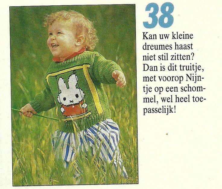 DIY via Marktplaats. Breipatroon Nijntje op de schommel trui. Verkrijgbaar in de maten 80 -86 - 92 - 98 en 104.