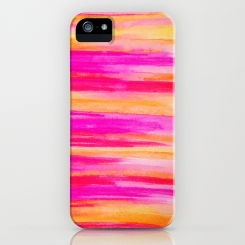 Rainbow Stripes Abstract Watercolor Painting iPhone Case