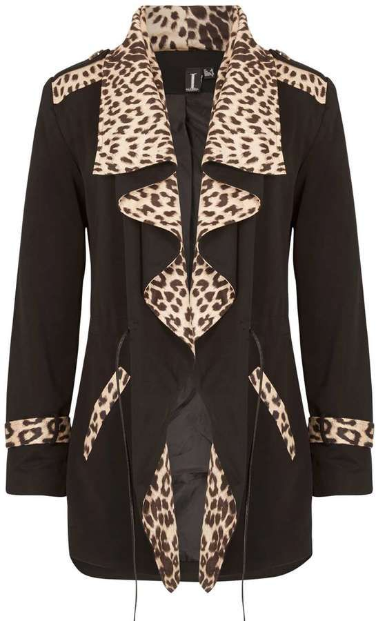Izabel London *Izabel London Black Leopard Print Cardigan