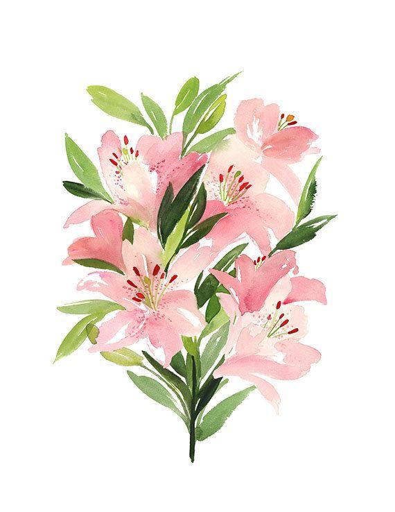 Handmade Watercolor Archival Art Print- Lilies in Vertical Arrangement