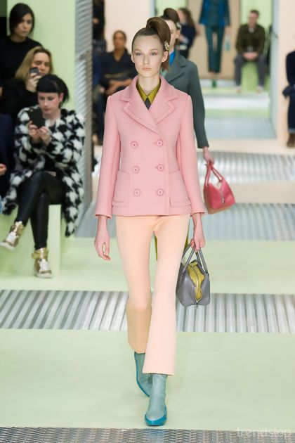 Winter Pastels at Prada Fall/Winter 2015-16. For more fashion trend forecasting, check out Trendstop.com
