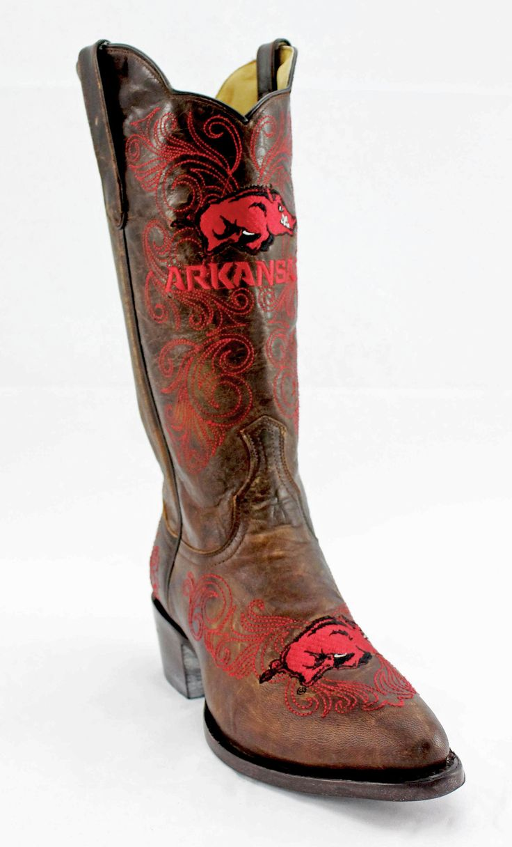 Gameday U Of Arkansas Ladies Leather Boots - Brass