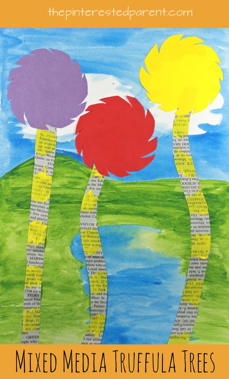 Watercolor books for kids - Mixed Media Truffula Tree Art Inspired By Dr Seuss The Lorax Kid S Arts And Crafts Onspired By Books