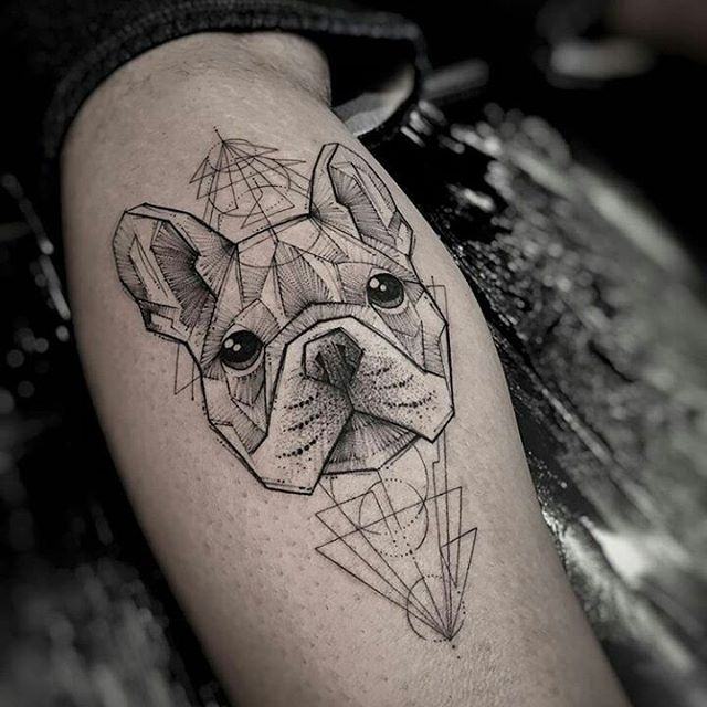 French bulldog tattoo design idea inspiration geometric black and grey modern design