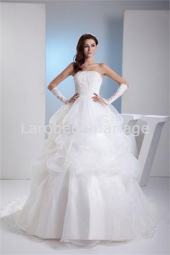 Robe de mariée princesees jupe bouillonnée à volants en satin et ...
