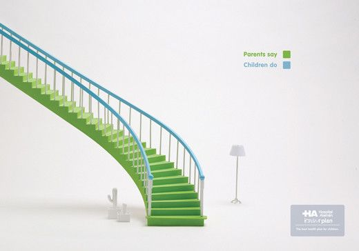 Less is More: Creative and Inspiring Minimalist Print Ads - Stairs : Parents Say / Children Do - A simple and creative use of colors and composition that embodies a health care plan for children.