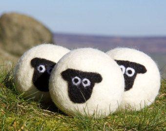 Wol droger ballen, verpakking van 3 Suffolk schapen vilten Wasserij ballen, herbruikbare, chemische gratis Wasserij, natuurlijke wasverzachter