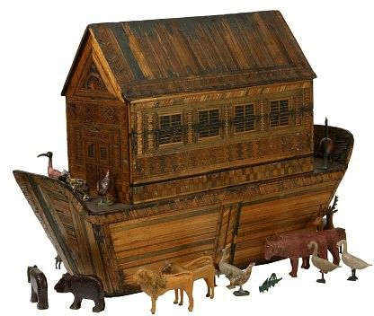Noah's Ark, Pinewood and straw, animals & figures carved, gesso and paint, Germany, 1810