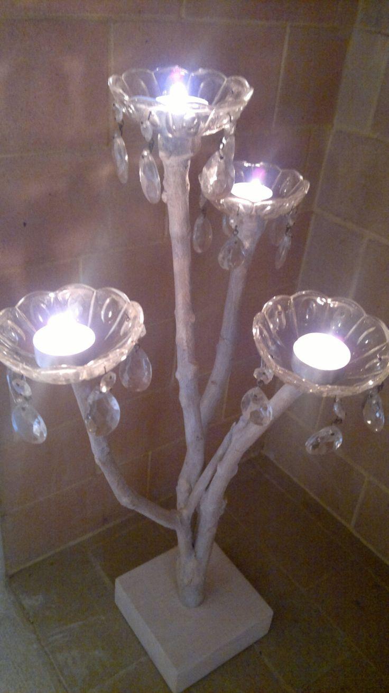 Porta candele in legno di recupero stile shabby chic, 4 coppette porta candela…