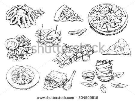 Sketches of food: snacks - stock vector