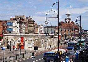 Town Hall and Shambles Market Hall, Stockton on Tees via Wikipedia.org