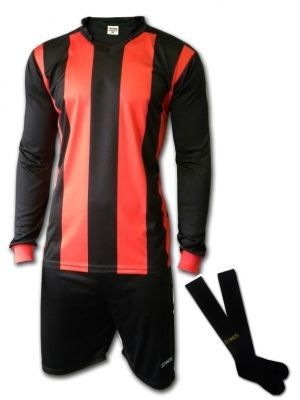 Ichnos black red stripes Football Team Kit Shirt Shorts Socks