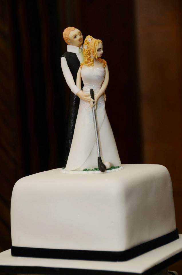 Golf themed custom made from sugar, bride and groom cake topper.  An original hand made sugar art piece by Tania Riley.  Johannesburg, South Africa.  0829316200
