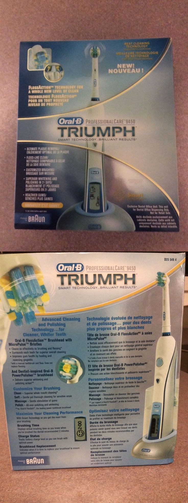 Electric Toothbrushes: New Oral B Triumph Power Toothbrush Pro Care 9450 W (3)Heads And Charger Braun Nib -> BUY IT NOW ONLY: $47 on eBay!
