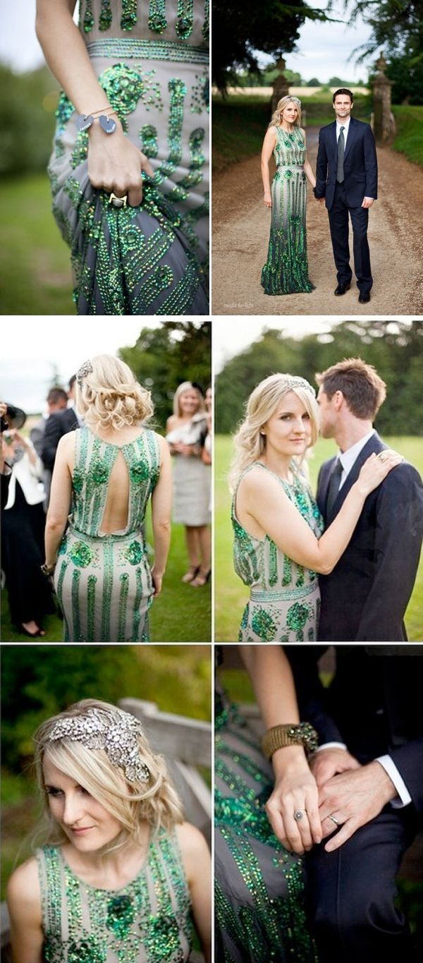 Coloured Wedding Dresses ~ Inspiration For the Bride Who Doesn't Want To Wear White  Emerald green, sequin wedding dress.