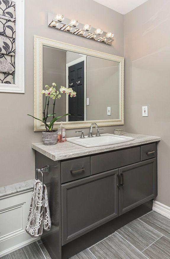 Refaced Benjamin Moore Kendall Charcoal Grey Vanity