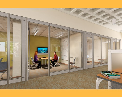 Many small study spaces have mounted screens. (Study Spaces at URI's Library Learning Commons)
