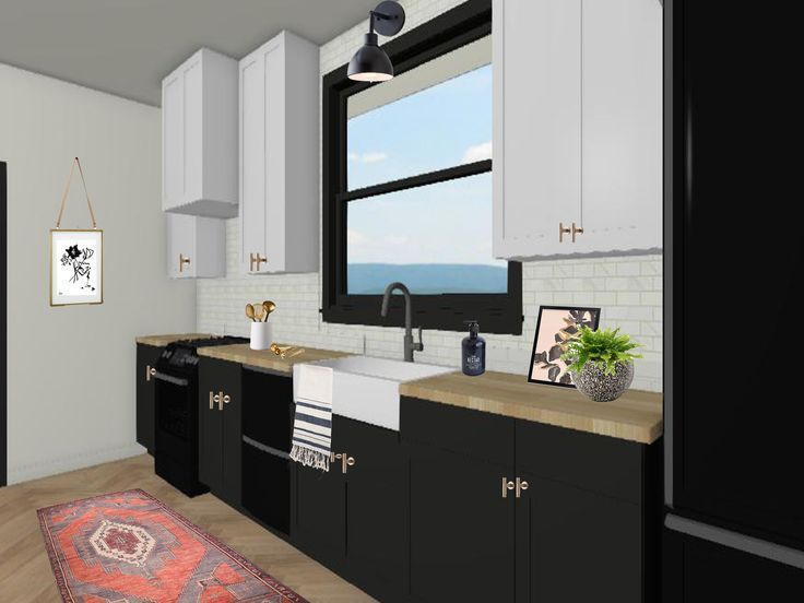 Online 3d Design For A Black And White Kitchen With Butcher Block