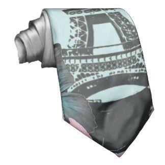 vintage Blue Paris Effiel Tower Butterfly fashion Neck Tie