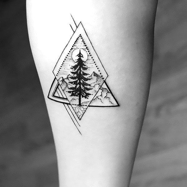Geometric Tree Tattoo on Forearm