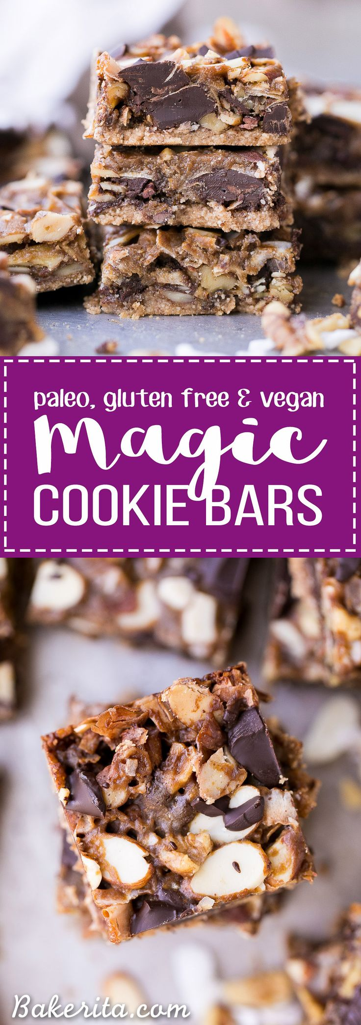 These Paleo Magic Cookie Bars are just as rich and delicious as the classic seven layer bars you know and love! This gluten-free, vegan, and refined sugar free version has an almond flour crust and ho