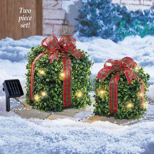 Solar Lighted Outdoor Christmas Topiary Presents 24 95 Usd