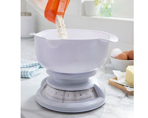 Measuring Jug And Scales £17 Easy to use scales with handy measuring jug. Made from plastic. Features moulded handles for easy grip and pouring lip. Can be used as a mixing bowl. Non-slip base. Capacity 5kg
