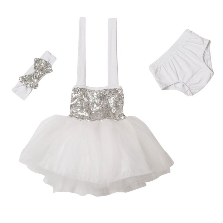 Sparkle Baby Halter Dress Gift Set - White & Silver | Children's and Baby Clothing Boutique | Bailey's Blossoms