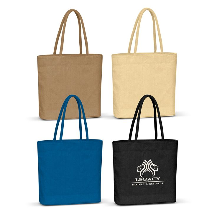 High fashion laminated natural jute tote bag with padded cotton handles.